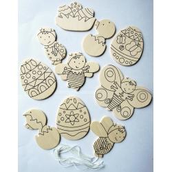 Houten paasfiguren (10 sts)