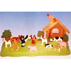 Houten boerderij speelset