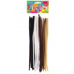 Chenille draad bruin, wit, zwart