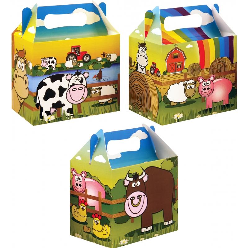 Lunch traktatie doosjes boerderij (6 sts)