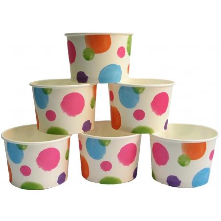 Traktatie/ijs cups stip (6 sts)