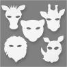 Blanco maskers jungle dieren (set van 16)