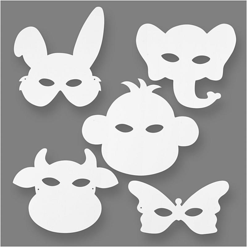 Blanco maskers dieren (set van 16)