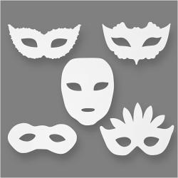 Blanco maskers maskerade (set van 16)