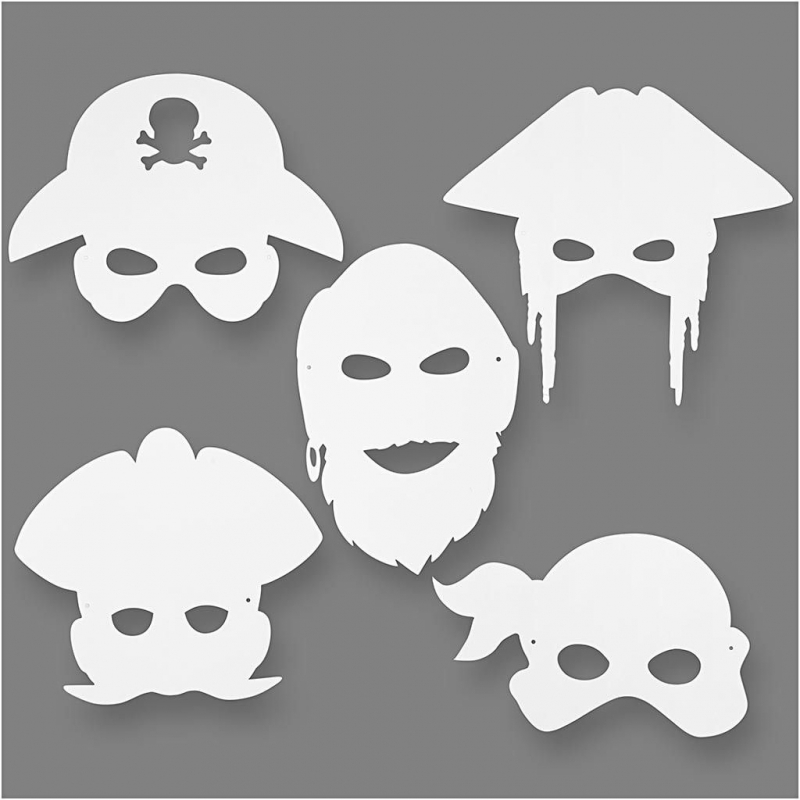 Blanco maskers piraten (set van 16)