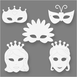 Blanco maskers prinses / fee (set van 16)