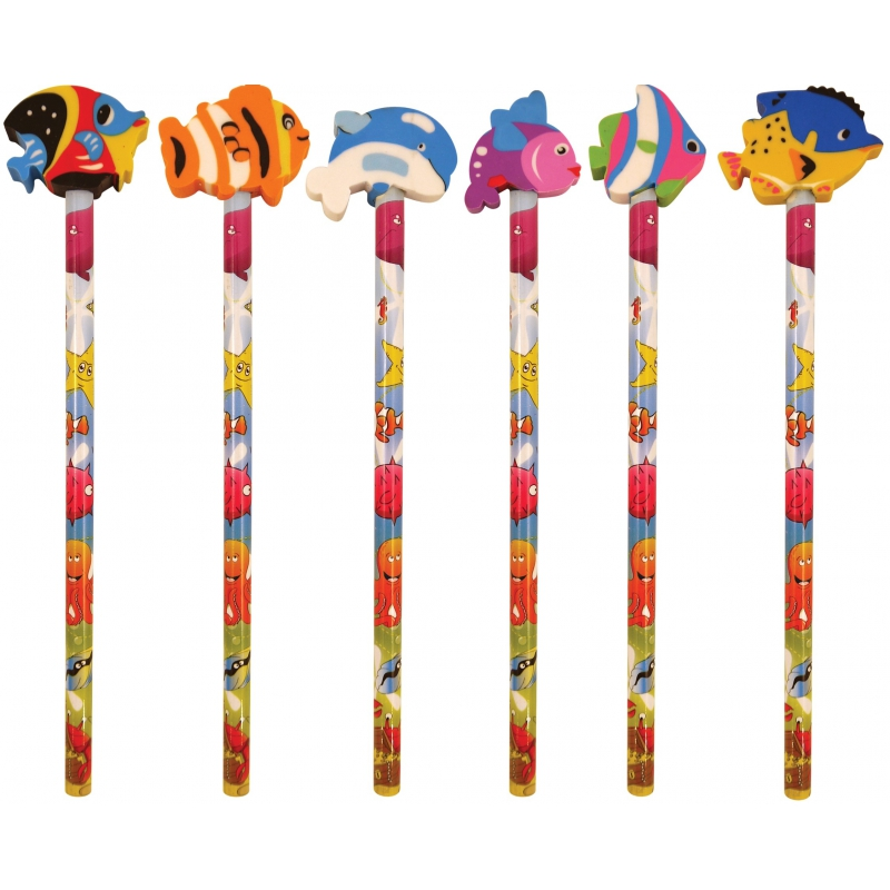 Potlood met gum zeedieren