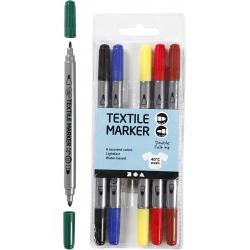 Dubbelzijdige textielstiften (6 st)